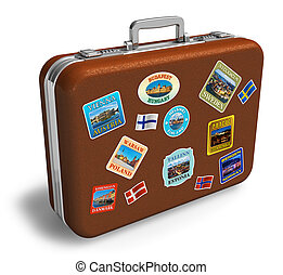 Leather travel suicase with labels - Brown leather travel...