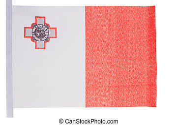 Maltese flag against a white background