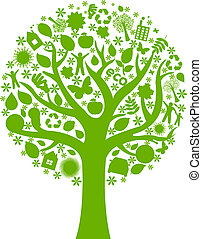 Eco Tree, Isolated On White Background, Vector Illustration...