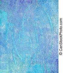 Blue water grungy paint washed wall background - Blue water...