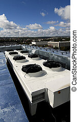 Ventilation system on a roof - This photograph represents an...