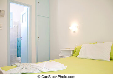 typical apartment motel room to let Greek Islands Greece -...
