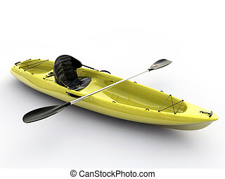 yellow kayak isolated on white background