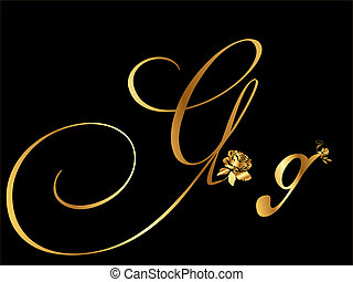 Golden letter G with roses