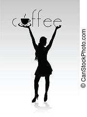 girl black silhouette hold coffee