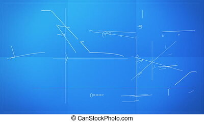 Aircraft Technical Blueprint - Time lapse animation showing...