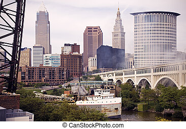 Big Ship on Cuyahoga River in Cleveland
