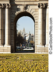 Alcala Arch in the center of Madrid, Spain.