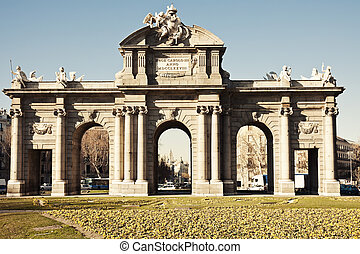 Alcala Arch  - View under Alcala Arch - Madrid, Spain.