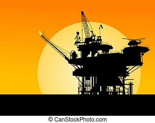 óleo, plataforma, silueta