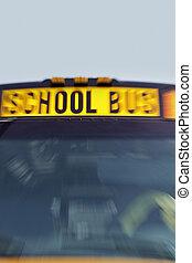 動き, バス, 学校, 黄色