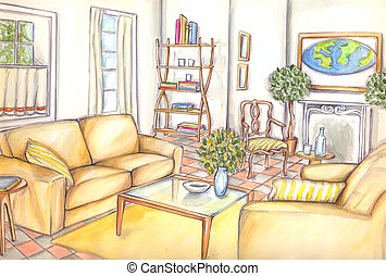 furniture, design, living, watercolor