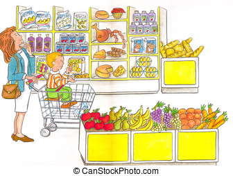 supermarket, shopping, cart, mother, baby, fruit