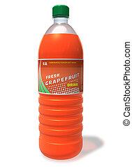 Refreshing grapefruit drink in plastic bottle