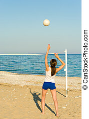 Beach volley - Volleyball match on a sunny Mediterranean...