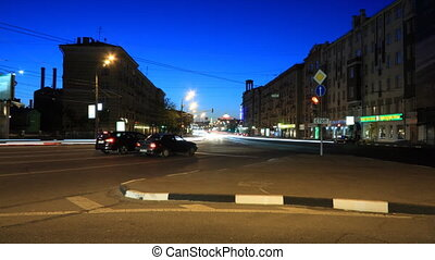 "Moscow night street timelapse - Crossroad between ""Bolshaya..."