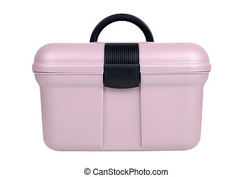 Sewing box - Modern pink plastic sewing box isolated on...