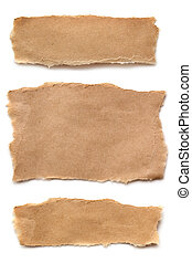 Ripped Brown Paper - Pieces of ripped brown paper, isolated...