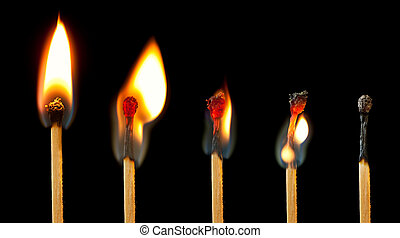 Burning Match Series - Sequence of burning match images,...