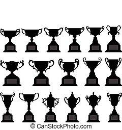 trophée, tasse, silhouette, noir, ensemble