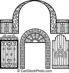 entrada, portão, PORTA, cerca, vindima