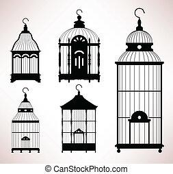 pássaro, gaiola, Birdcage, vindima, retro