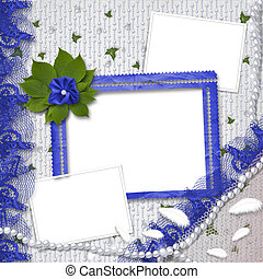 Three frames for photos with pearls and bunch of flower -...
