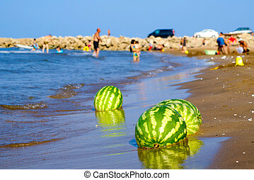 watermelons on the beach