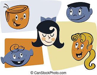 Retro Child Faces Illustration