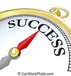 Compass Arrow Pointing to Success Reaching Goal - A compass...