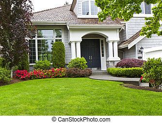 Front Yard - Front yard of modern home during late spring