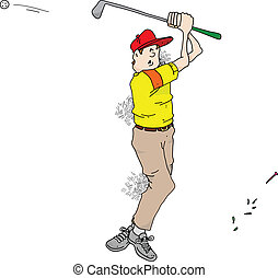 Bad Golf - Cartoon image of a very bad golfer