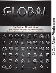 Letters with graphic style - Black alphabet with simple...