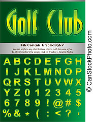 Letters with graphic style - Green alphabet with simple...