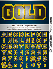 Letters with graphic style - Metallic alphabet with gold...
