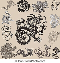 dragonset-3 - different chinese dragons in miscellaneous...