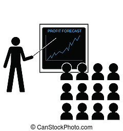 increasing profit margins - Man giving economic forecast...