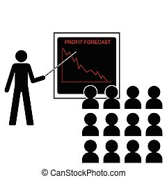 falling profit margins - Man giving economic forecast...