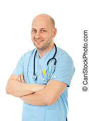 Laughing bald doctor man standing with hands crossed...