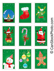 stamp-collection - A collection of green greeting cards with...