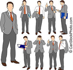 Business Men Group Set 01 - Set of illustrations of business...