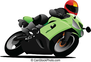 Biker on the road Vector illustration