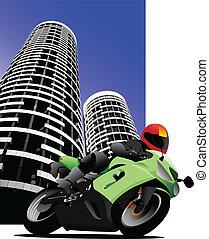 Biker on city background. Motorcyc