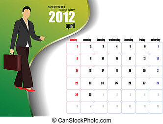 Calendar 2012 with woman image.
