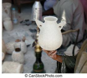 Vase making - vase made in alabaster factory in Egypt