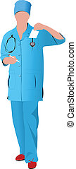 Nurse woman with white doctor`s smock. Vector illustration