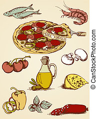 hand drawn pizza set - set of vector hand drawn pizza icons