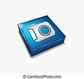 camera web icon - 3d vector glossy camera web icon design...