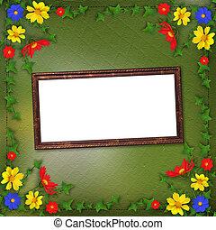 Grunge wooden frame  in scrapbooking style with bunch of flowers