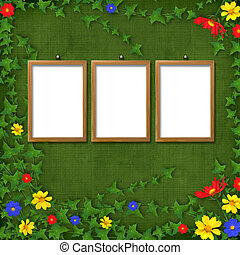 Three Wooden frameworks for portraiture on the abstract background with flowers